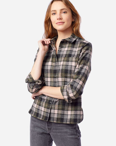 WOMEN'S LODGE SHIRT IN GREY/PINK SURF PLAID