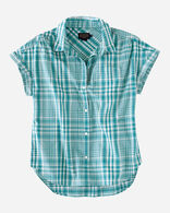 WOMEN'S SUNNYSIDE PLAID SHIRT, TEAL, large
