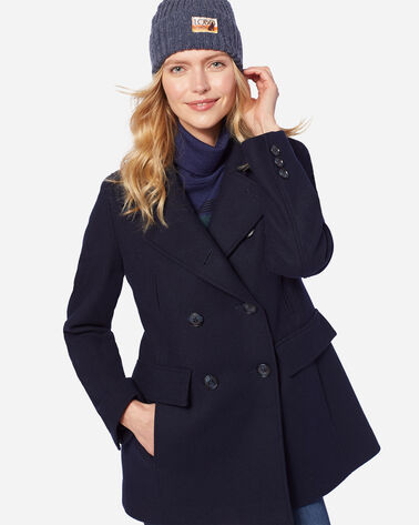 WOMEN'S WOOL PEA COAT IN NAVY