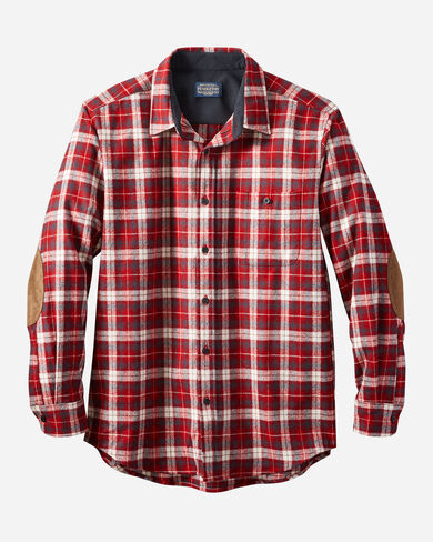 MEN'S ELBOW-PATCH TRAIL SHIRT IN RED PLAID