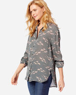 WOMEN'S LONG-SLEEVE SILK BUTTON-UP