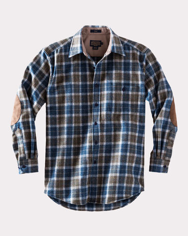 LONG-SLEEVE FITTED TRAIL SHIRT, TAUPE/BLUE MIX PLAID, large
