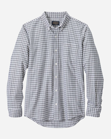 FITTED EVERGREEN STRETCH MERINO SHIRT IN WHITE/NAVY PLAID