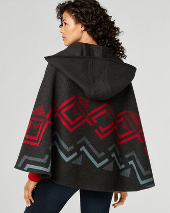 HOODED SHAWL COLLAR CAPE, DARK CHARCOAL/RED, large