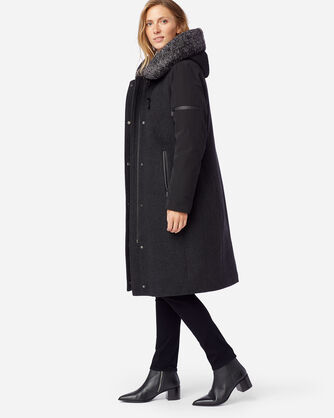 ALTERNATE VIEW OF WOMEN'S ALBANY SHEARLING-HOODED COAT IN CHARCOAL/BLACK