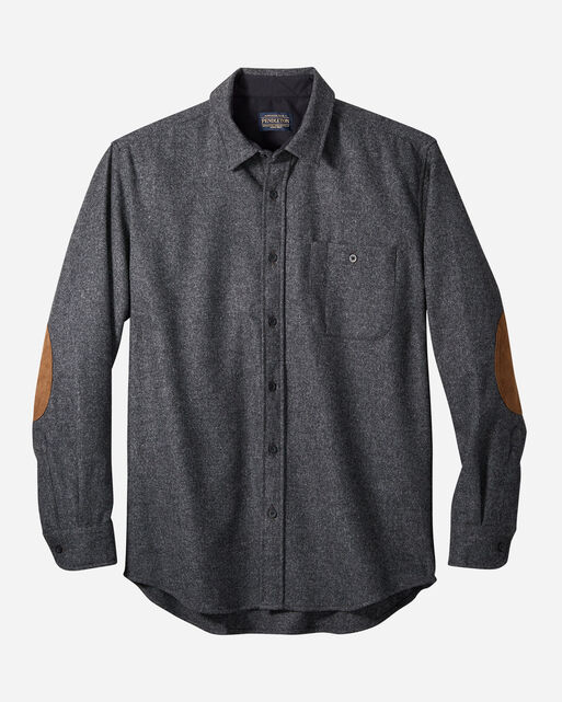 MEN'S ELBOW-PATCH TRAIL SHIRT IN OXFORD GREY MIX SOLID
