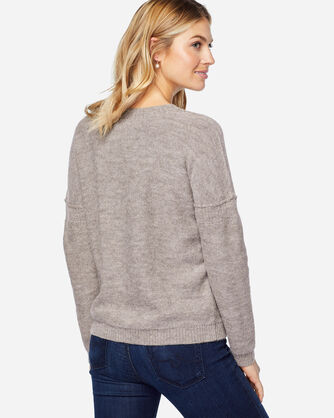 FRINGED PULLOVER SWEATER, NATURAL TAUPE, large