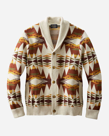 MEN'S EASY RIDER COTTON SHAWL CARDIGAN IN RUST/TAN