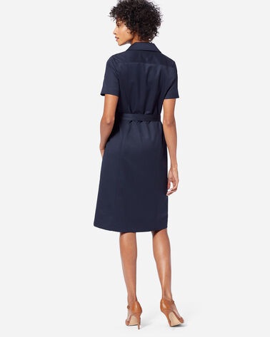 ADDITIONAL VIEW OF SEASONLESS WOOL LONGLINE DRESS IN MIDNIGHT NAVY