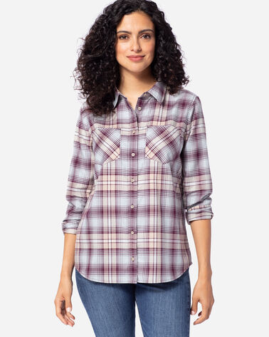 WOMEN'S LONG-SLEEVE PLAID SHIRT IN FIG/TAUPE