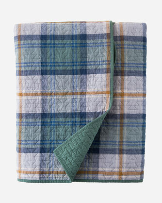 MOSIER PLAID COVERLET SET IN EVERGREEN