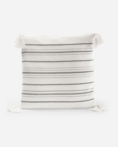 BOHEMIAN FAIR ISLE WOVEN COTTON PILLOW, IVORY, large