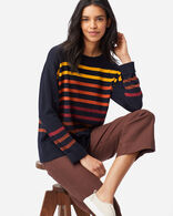 WOMEN'S TIMELESS MERINO STRIPED CREW IN NAVY MULTI