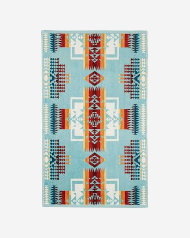 CHIEF JOSEPH HAND TOWEL, AQUA, large