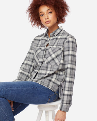 WOMEN'S ULTRALUXE MERINO PIPER SHIRT, IVORY/GREY PLAID, large