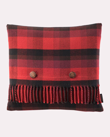 COTTON PLAID PILLOW, RED/BLACK SHADOW, large