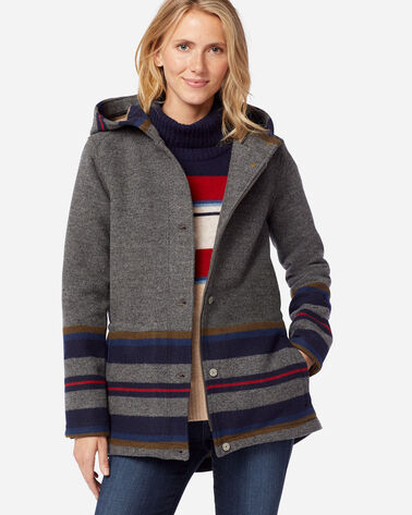 WOMEN'S YAKIMA STRIPE PARKA IN GREY