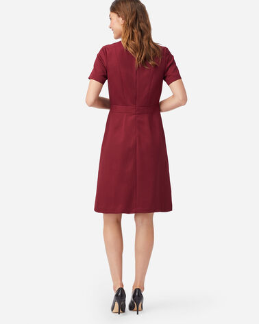 ALTERNATE VIEW OF SEASONLESS WOOL SHORT-SLEEVE DRESS IN CABERNET