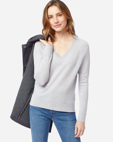 WOMEN'S TIMELESS MERINO V-NECK SWEATER IN LIGHT GREY HEATHER