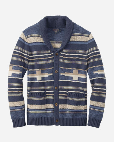 STRIPE SHAWL-COLLAR SWEATER, BLUE/TAN STRIPE, large