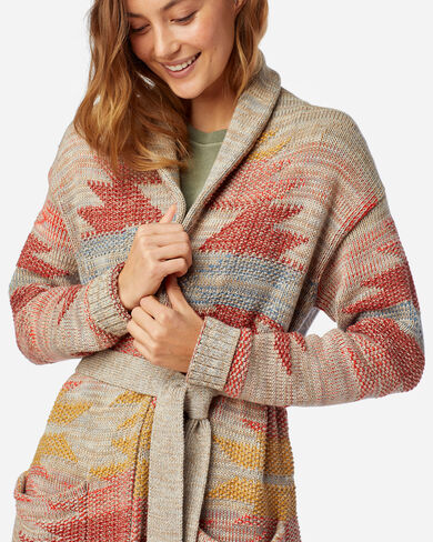 WOMEN'S MONTEREY BELTED COTTON CARDIGAN IN TAUPE MULTI