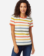 WOMEN'S DESCHUTES RINGER TEE IN ANTIQUE WHITE MULTI