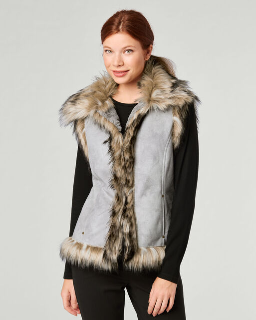 LUXE FAUX FUR AND SUEDE VEST, GREY STONE, large