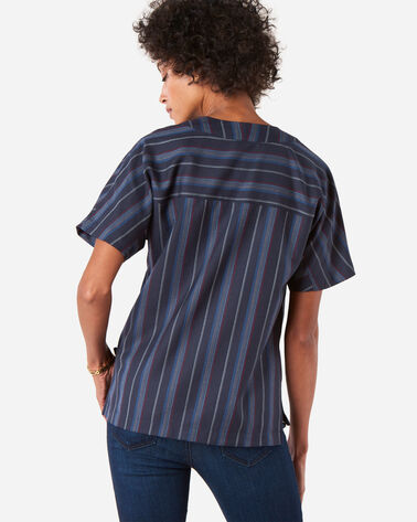 ADDITIONAL VIEW OF WOMEN'S STRIPE WOOL POPOVER SHIRT IN NAVY