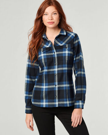CHRISTINA PLAID SHIRT, LARGE BLACK/BLUE PLAID, large