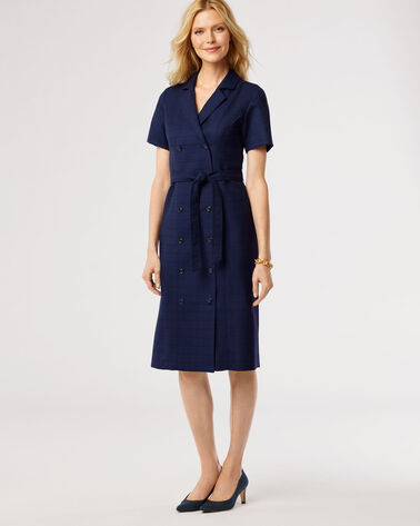 WOOL-LIN DOUBLE-BREASTED DRESS, NAVY/CATALINA BLUE, large