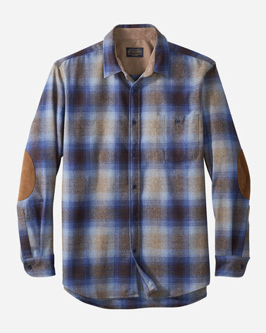 MEN'S FITTED ELBOW-PATCH TRAIL SHIRT IN TAUPE/BROWN/BLUE OMBRE