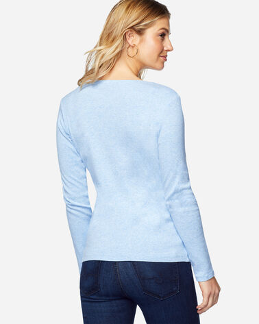 LONG-SLEEVE COTTON RIBBED V-NECK, SKY BLUE HEATHER, large