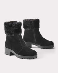 CUFFED ANKLE BOOTS, BLACK, large