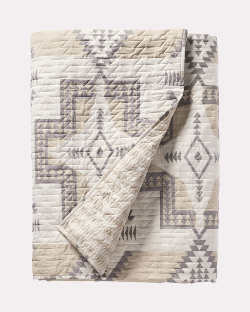 CONEJOS PRINTED QUILT SET, NEUTRAL, large