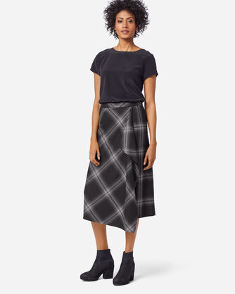 FAUX WRAP SKIRT IN GHOST PLAID
