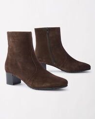 SUEDE ANKLE-ZIP BOOTS, BROWN, large