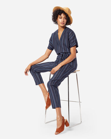STRIPE WOOL BELTED HIGH WAIST PANTS IN NAVY