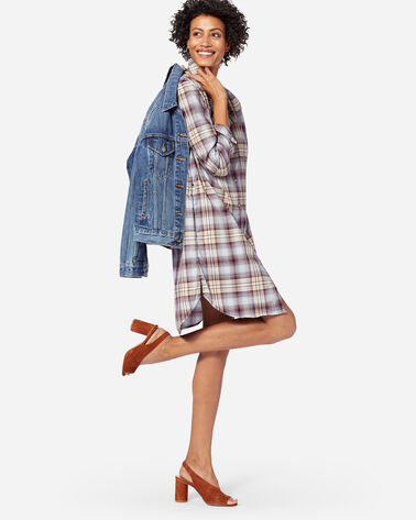LONG SLEEVE PLAID SHIRTDRESS IN FIG/TAUPE
