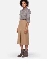 SHELBY WORSTED WOOL FLANNEL BOOT SKIRT, CAMEL MIX, large
