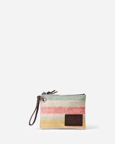GLACIER STRIPE CLUTCH WITH GROMMET IN IVORY