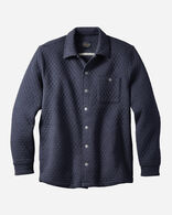 MEN'S QUILTED KNIT SHIRT JACKET, BLUE HEATHER, large
