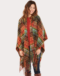 HOODED BLANKET SHAWL, SMOKY MOUNTAINS PLAID, large