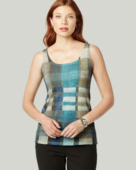 ITALIAN KNIT PLAID TANK TOP, BLUE/GREEN MULTI, large