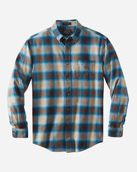 LISTER FLANNEL SHIRT, TEAL/BROWN/TAN PLAID, large