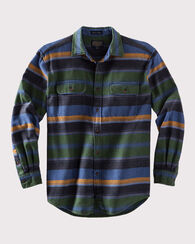 FITTED CAMBER STRIPE SHIRT, GREEN/BLUE STRIPE, large