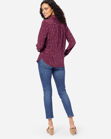 ADDITIONAL VIEW OF WOMEN'S LONG SLEEVE SILK SHIRT IN FIG ARROW PRINT