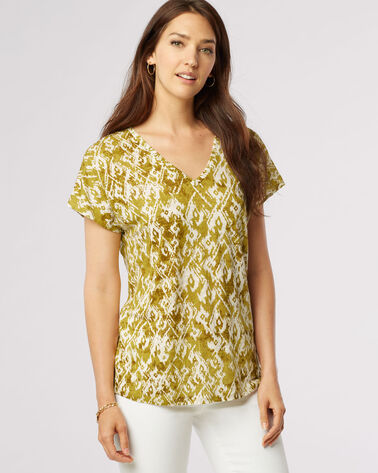SAVANNA BATIK TEE, MOSS GREEN MULTI, large