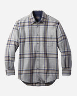 MEN'S FITTED LODGE SHIRT IN GREY/BLUE PLAID