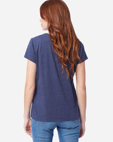 ALTERNATE VIEW OF WOMEN'S STRIPED GRAPHIC TEE IN NAVY HEATHER