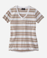 V-NECK STRIPE POCKET TEE